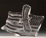 Eagle & The American Flag Leaded Crystal Sculpture