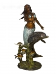 Mermaid with Dolphin and Fish Sculpture