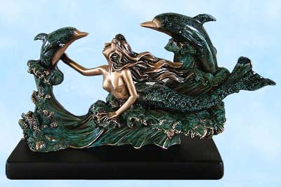 Verde Mermaid & Dolphins Sculpture