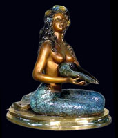 Sitting Mermaid with Shell Fountain
