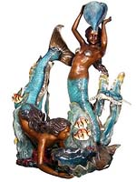 Art Finish Two Mermaids Fountain