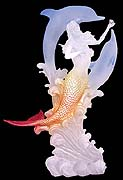 Large Mermaid & Dolphins Lucite Sculpture