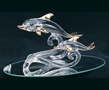 Duo Dolphins on Oval Mirror Glass Sculpture